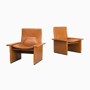 Cognac Leather Lounge Chairs from Matteo Grassi, 1990s, Set of 2