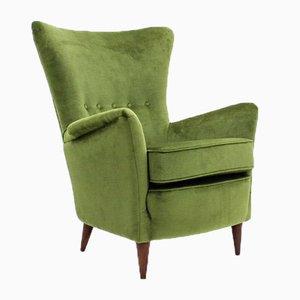 Mid-Century Italian Green Velvet Armchair, 1950s