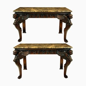 Marble and Wood Console Tables, 1920s, Set of 2