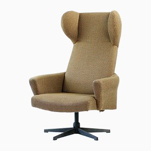 Czech Brown Swivel Wing Chair, 1960s