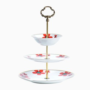 Three Layer Cake Stand in Brass and Porcelain, Czechoslovakia, 1950s