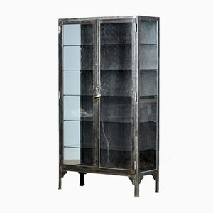 Vintage Steel And Glass Medical Cabinet, 1940s