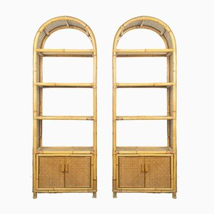 Vintage Bamboo Bookcases, 1960s, Set of 2