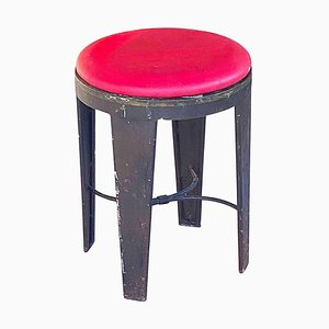 French Loft Style Industrial Stool in Iron with Red Faux Leather, 1950s