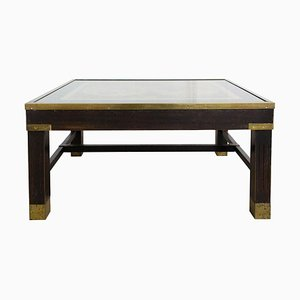 Mid-Century French Brass and Mahogany Coffee Table with World Map Top