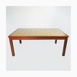 Wooden and Decorative Yellow Ceramic Tiled Coffee Table, 1970s