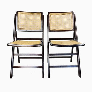 Mid-Century Woven Cane Folding Chairs, 1960s, Set of 2
