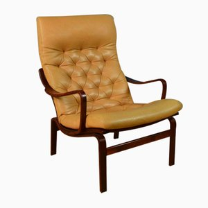 Mid-Century Swedish Buttoned Caramel Leather Bentwood Lounge Armchair, 1970s