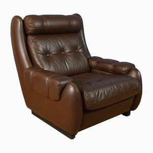 Mid-Century Danish Buttoned Brown Leather Lounge Armchair from Bramin, 1970s