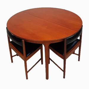 Mid-Century Teak Space Saver Table & Dining Chairs Set from Mcintosh