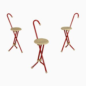 Stools in Metal and Plastic by Ivan Loss Sandrigarden, 1980s, Set of 3