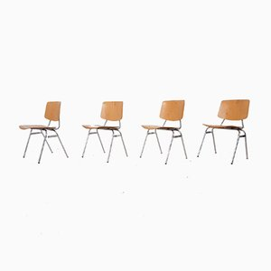 Stacking Chairs by Kho Liang Ie for Car Katwijk, the Netherlands, 1950s, Set of 4