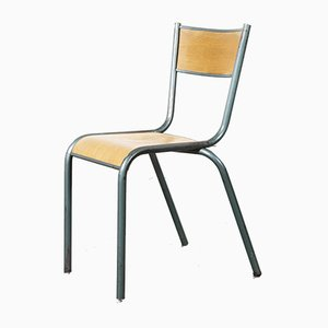 Vintage French Aqua Model 510 Stacking School Dining Chair from Mullca