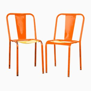 French Orange Metal T4 Cafe Dining Chairs from Tolix, 1950s, Set of 2