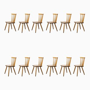 Mid-Century French Beech Stick Back Dining Chairs, 1950s, Set of 12