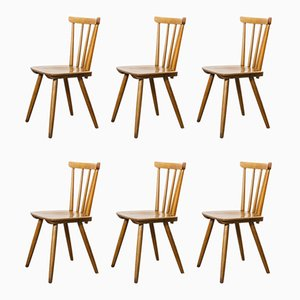 Mid-Century French Beech Stick Back Dining Chairs, 1950s, Set of 6