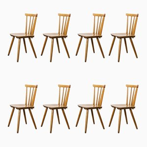 Mid-Century Beech Stick Back Dining Chairs, 1950s, Set of 8