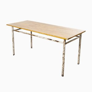 French Industrial Rectangular Workshop Dining Table with Metal Base, 1950s