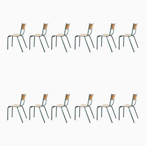 Vintage French Aqua Model 510 Stacking School Dining Chairs from Mullca, 1950s, Set of 12