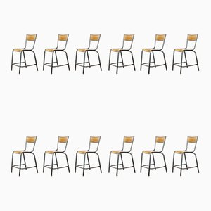 High Laboratory Stacking Dining Chairs or Barstools from Mullca, 1950s, Set of 12