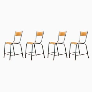 High Laboratory Stacking Dining Chairs or Barstools from Mullca, 1950s, Set of 6