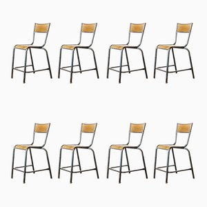 High Laboratory Stacking Dining Chairs or Barstools from Mullca, 1950s, Set of 8