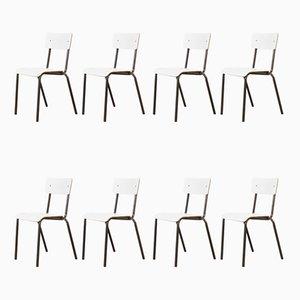 Weiße Esszimmerstühle von Mullca, 1970er, 8er Set
