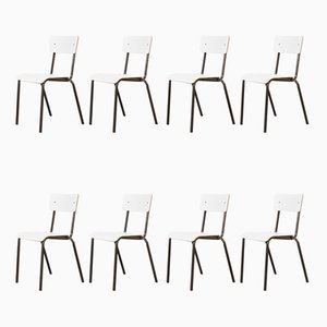 White Stacking Dining Chairs from Mullca, 1970s, Set of 8