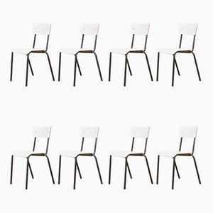 Weiße Esszimmerstühle von Mullca, 1970er, 6er Set