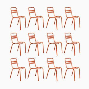 French Red T2 Metal T2 Cafe Dining Chairs frolm Tolix, 1950s, Set of 12