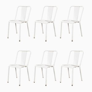 French Metal Light Grey T4 Cafe Dining Chairs from Tolix, 1960s, Set of 6