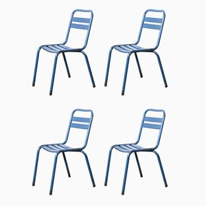 French Blue Metal T2 Cafe Dining Chairs from Tolix, 1950s, Set of 4