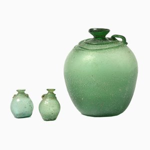 Green Murano Glass Vases Set