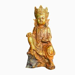 Vintage Chinese Crown Gold Buddha Statue, 1960s