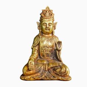 Chinesische Vintage Gold Buddha Statue, 1960er