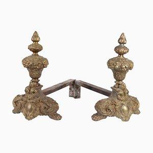 Gold Bronze Chenets, Set of 2