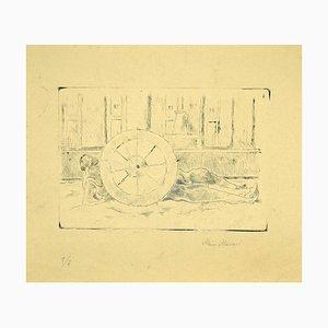 Mino Maccari - the Wheel - Original Etching On Paper by Mino Maccari - 1920s