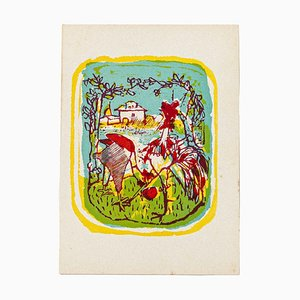 Mino Maccari - Rooster - Original Woodcut by Mino Maccari - Mid-20th Century