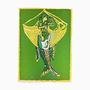 Mino Maccari - Sirene - Original Holzschnitt von Mino Maccari - Mitte 20. Jahrhundert
