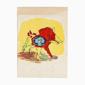 Mino Maccari - Siren - Original Woodcut by Mino Maccari - Mid-20th Century