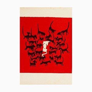 Mino Maccari - the Dogs - Original Holzschnitt von Mino Maccari - Mitte des 20. Jahrhunderts