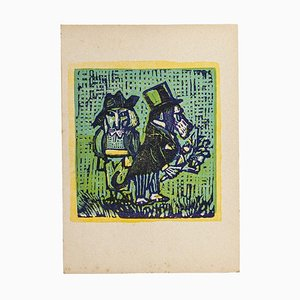Mino Maccari - the Dogs - Original Woodcut by Mino Maccari - Mid-20th Century