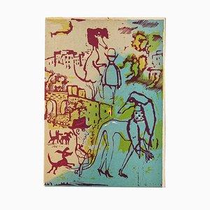 Mino Maccari - the Creatures and Man - Original Woodcut by Mino Maccari - Mid-20th Century
