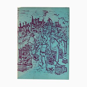 Mino Maccari - Bird Market - Original Woodcut by Mino Maccari - Mid-20th Century