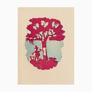 Mino Maccari - Bemalter Baum - Original Holzschnitt von Mino Maccari - Mitte des 20. Jahrhunderts
