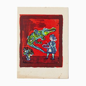 Mino Maccari - Crocodile - Original Woodcut by Mino Maccari - Mid-20th Century
