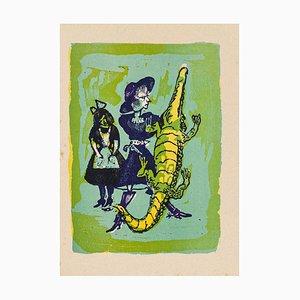Mino Maccari - Krokodil - Original Holzschnitt von Mino Maccari - Mitte des 20. Jahrhunderts