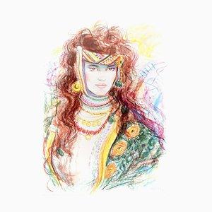 Jovan Vulic - Berber Woman - Original Lithographie von Jovan Vulic - 1988