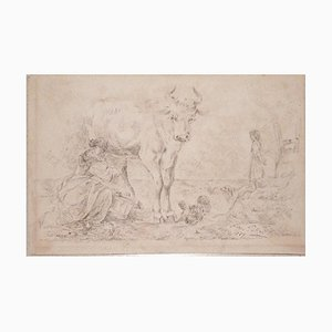 Filippo Palizzi - the Milking Girl - Original Etching by Filippo Palizzi - 1889