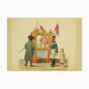 Michela De Vito - Soft Drink Sellers - Original Gouache - by Michela De Vito - 19th Century